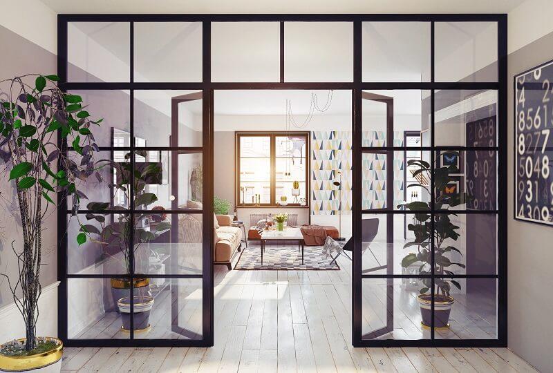 glazen tussenwand woonkamer